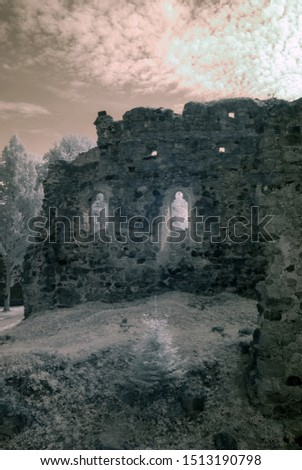 infrared photography with view of old castle ruins, white trees, beautiful clouds, picture taken with specially adapted infrared camera