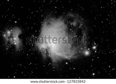 infrared real picture taken by telescope of the great nebula, located in orion constellation, is one of the most famous astronomical objetcs. It can be seen even by naked eyes, in winter