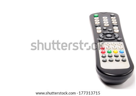Infrared remote control for TV satellite receiver isolated on white background with copyspace
