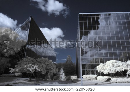 Infrared shot of office Buildings