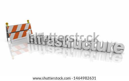 Infrastructure Improvement Project Road Work Barricade Sign 3d Illustration