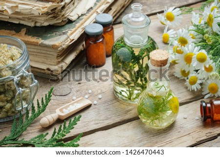 Infusion bottles, Chamomile flowers and Thuja occidentalis plant,  bottles of homeopathic globules and old books. #1426470443