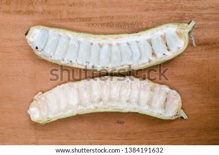 Inga edulis fruits. It is call ice cream bean, guaba, joaquiniquil, cuaniquil; depending on the place. Stock photo ©