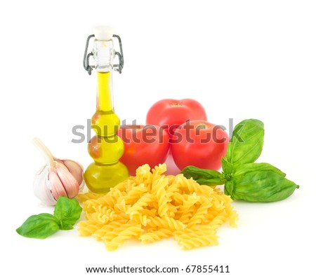 Ingredient to make Pasta with tomato sauce isolated on white background