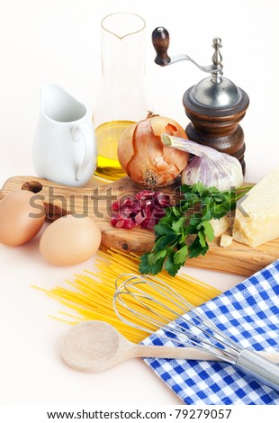 ingredients and utensils for spaghetti alla carbonara