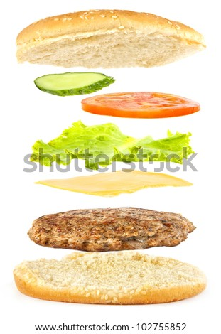 Ingredients for a burger fall on a roll