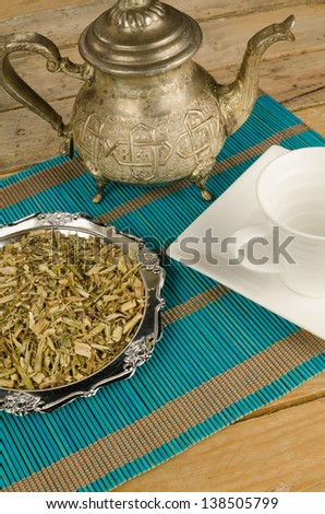 Ingredients for a healthy herb tea, a still life