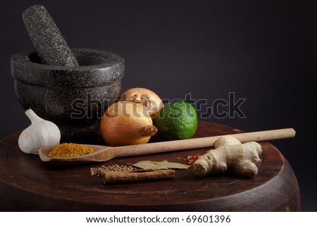 Ingredients for a meal- similar to another image as part of a selection