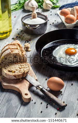 Ingredients for a morning egg on a pan