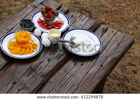 Ingredients for a summer cake with fruit