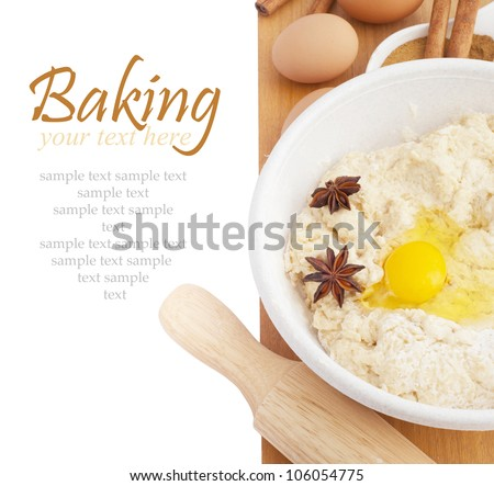 Ingredients for Baking isokated on white background. With sample text. - stock photo