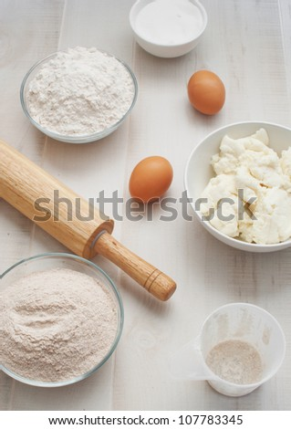 Ingredients for baking top view