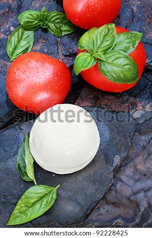 Ingredients for Caprese Salad. Fresh mozzarella cheese ball, basil, and tomatoes on a rustic slate background.