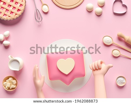 Ingredients for cooking dough or bread. Like heart icon on a pink pin cake. Concept design for baking, pizza, cookie, biscuit, bread. Pink background. View from above. 3d render