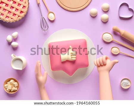 Ingredients for cooking dough or bread. Like icon on a pink pin cake. Concept design for baking, pizza, cookie, biscuit, bread. Pink background. View from above. 3d render