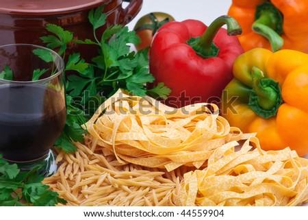 Ingredients for cooking pasta and sauce