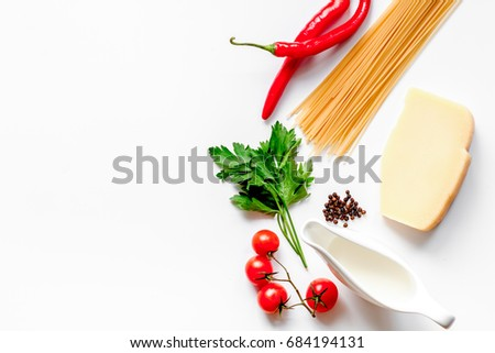 ingredients for cooking paste white background top view mock up #684194131