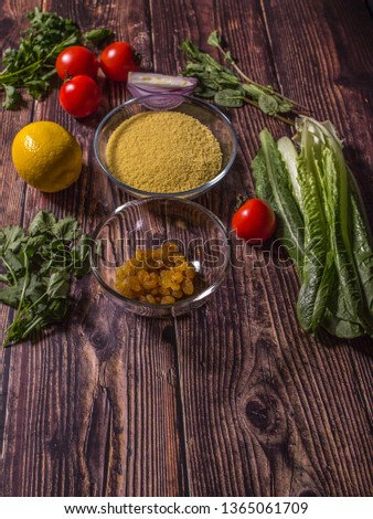 Ingredients for cooking Tabbouleh - Levantine vegetarian salad. Traditionally food of the Arabic world.  #1365061709