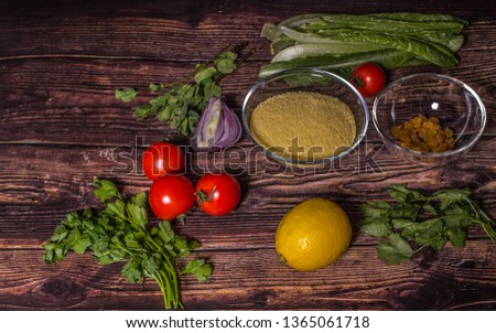 Ingredients for cooking Tabbouleh - Levantine vegetarian salad. Traditionally food of the Arabic world.  #1365061718