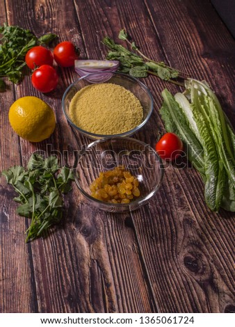 Ingredients for cooking Tabbouleh - Levantine vegetarian salad. Traditionally food of the Arabic world.  #1365061724