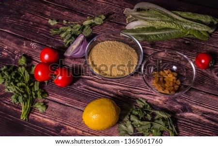 Ingredients for cooking Tabbouleh - Levantine vegetarian salad. Traditionally food of the Arabic world.  #1365061760