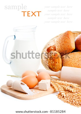 ingredients for homemade bread, isolated on a white background
