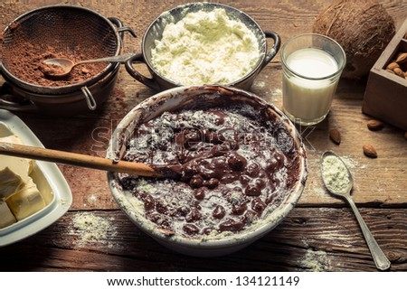 Ingredients for homemade chocolate with nuts