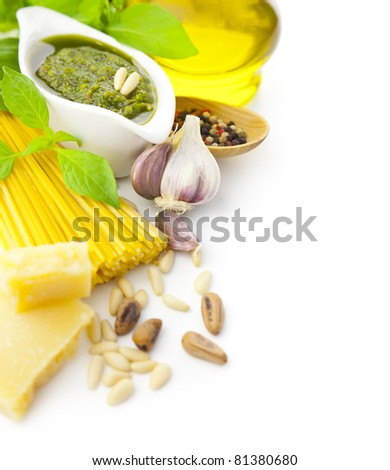 Ingredients for Italian cooking  -  pesto and pasta / frame composition / isolated on white
