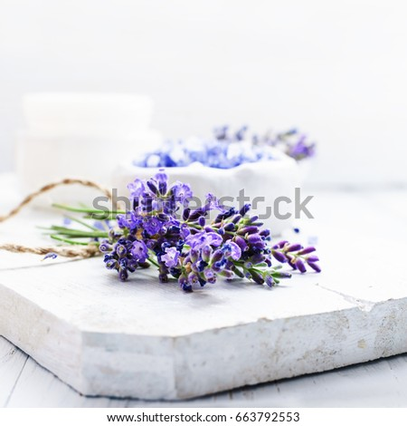 Shutterstock ingredients for lavender spa, flower and salt on white wooden background.