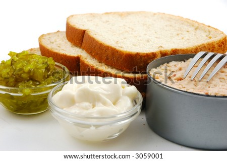 Ingredients for making a tuna fish sandwich bread tuna for Making tuna fish
