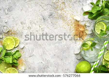 Ingredients for making mojito on a  grey concrete, stone or slate  background.Top view with space for text. #576277066