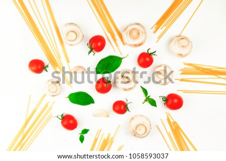 Ingredients for pasta, spaghetti. Layout. Flat layout #1058593037