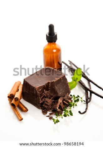 Ingredients for Perfume Making Cinnamon, Vanilla Beans, and Dark Chocolate with Few Storage  Bottles