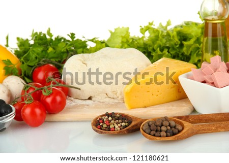 Ingredients for pizza isolated on white