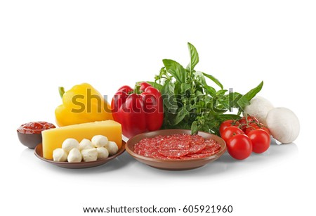 Ingredients for pizza on white background #605921960