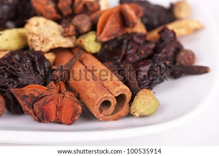 Ingredients for preparation mulled wine on white plate