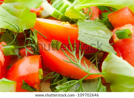 ingredients of fresh vegetable salad closeup, red tomatoes and green salad leaves