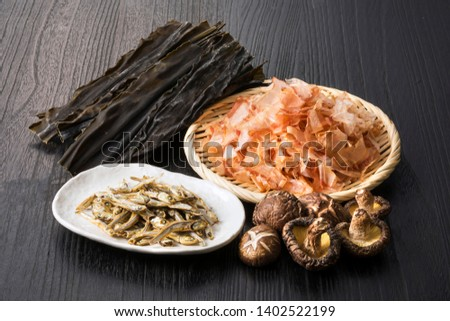 Ingredients of Japanese fish broth (Bonito Flakes,Dried kelp,Dried sardine,Dried shiitake mushroom)