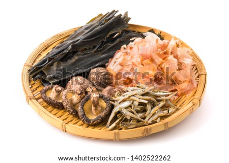 Ingredients of Japanese fish broth (Bonito Flakes,Dried kelp,Dried sardine,Dried shiitake mushroom)