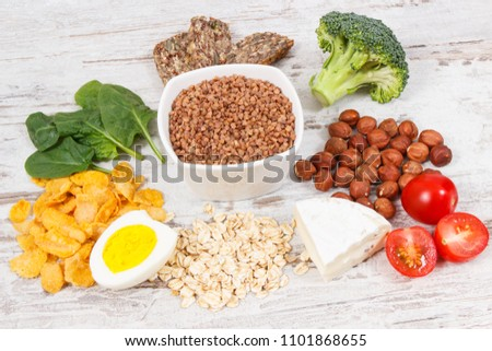 Ingredients or products containing vitamin B2 and dietary fiber, natural sources of minerals, healthy nutrition concept