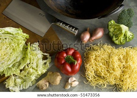 Ingredients to make a stir-fry