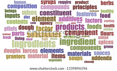 Ingredients Word Cloud In Rows Isolated On White