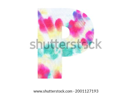 Initial letter P with abstract hand-painted tie dye texture. Isolated on white background. Illustration for headline and logo design Zdjęcia stock ©