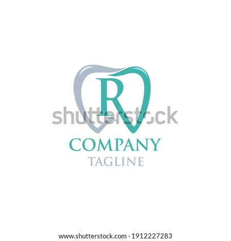 Initial R Teeth Logo; Modern, unique, simple and techie lettermark tooth logo for dentist, orthodontics and toothpaste brand. Conveys sleek, cool, stylish and professional services. Stok fotoğraf ©