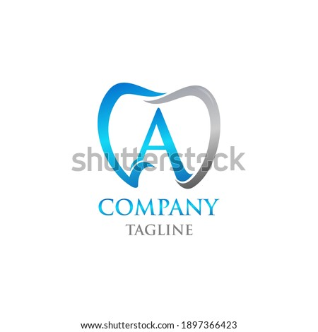 Initial Teeth Logo; Modern, unique, simple and techie lettermark tooth logo for dentist, orthodontics and toothpaste brand. Conveys sleek, cool, stylish and professional services. Stok fotoğraf ©