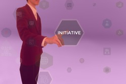 INITIATIVE - business concept presented by businessman