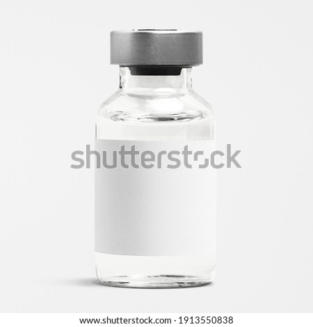Injection bottle glass vial with blank white label Foto stock ©