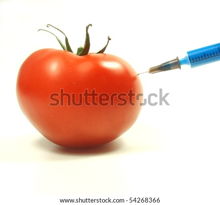 Injection into fresh red tomato