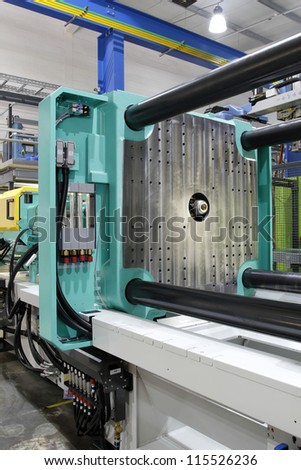 Injection moulding machine used for the forming of plastic parts using plastic resin and polymers.