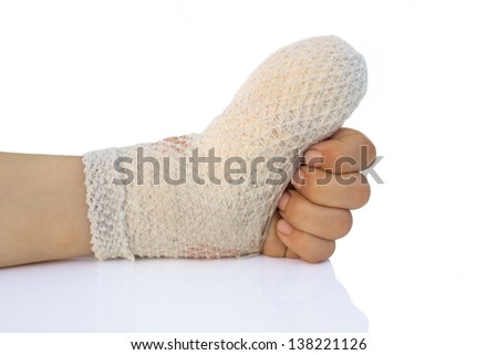 injured child's hand bandaged